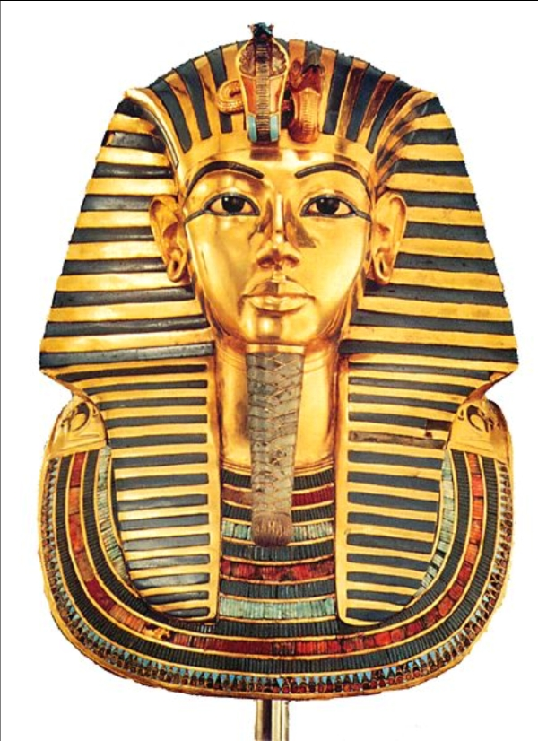 king tutankhamun s gold mask At a weight of around 24 pounds, the death mask of tutankhamun is meant to present what the young king looked like the facial features visible on this mask have a likeness to those of the mummy under it around the face of the mask is a blue and gold nemes headdress with a cobra and a vulture sitting on top of the brow.