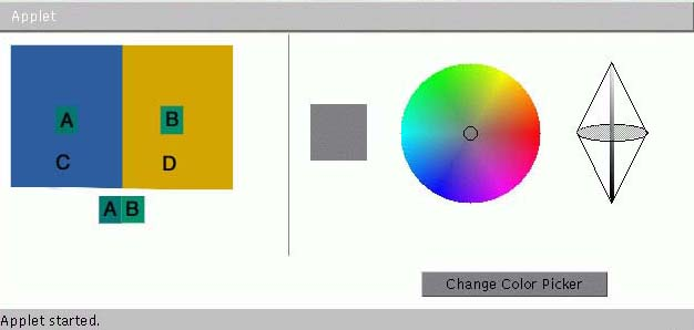 This exercise of trying to make two colors appear as one can be explored in  the