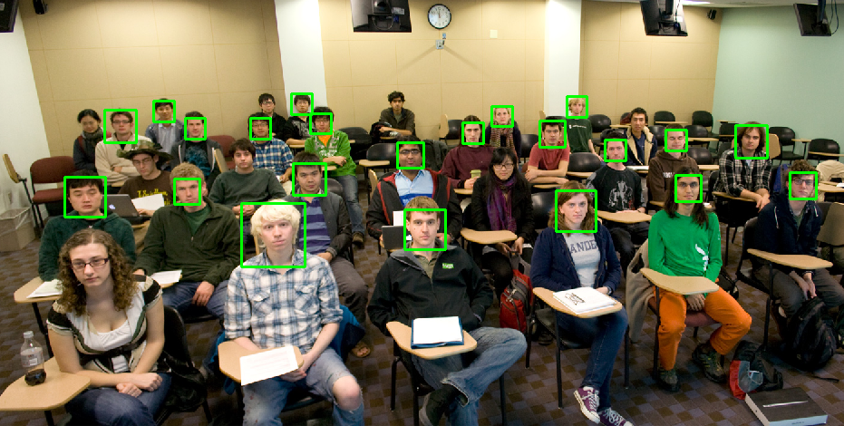 Face detection with a sliding window