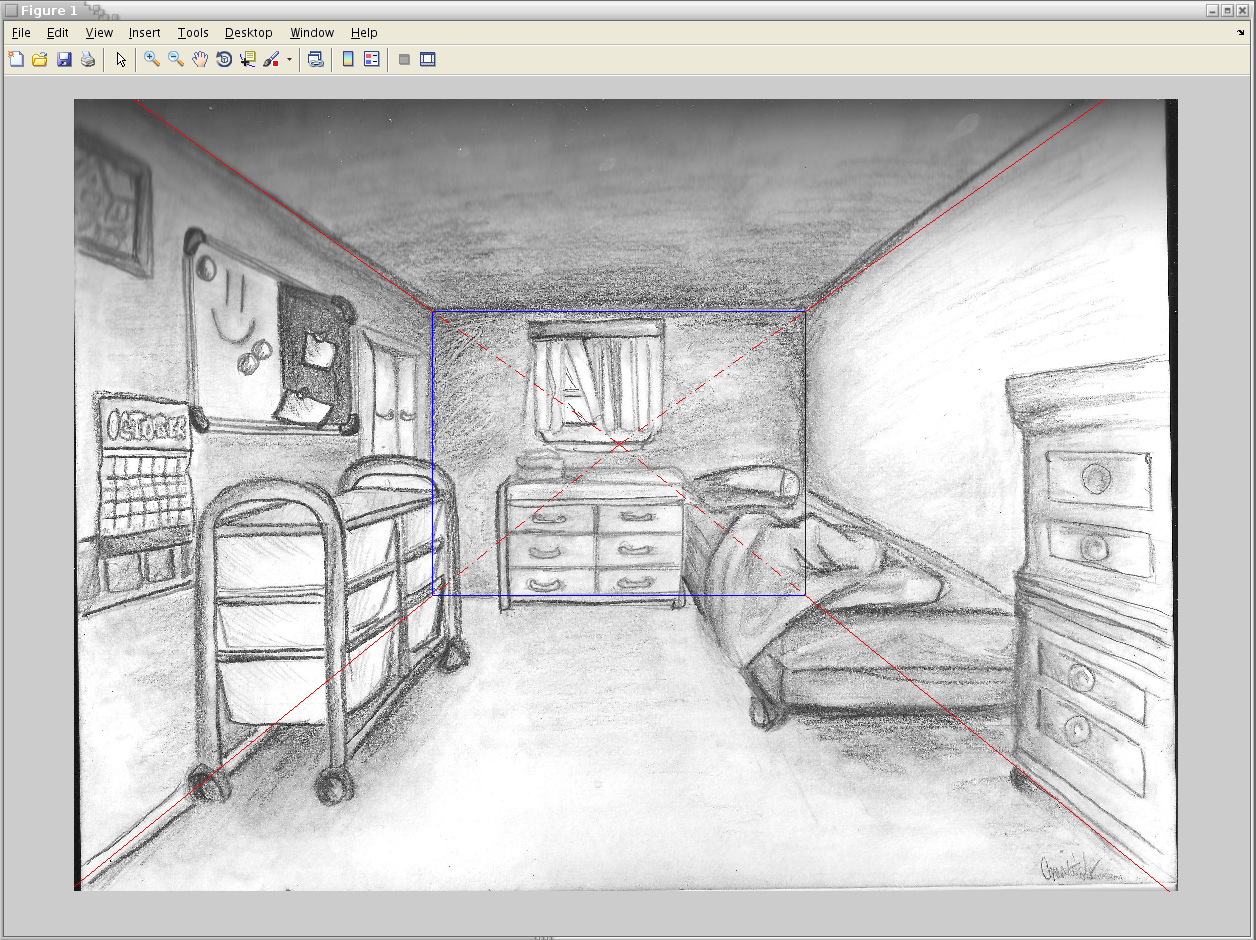 Single view reconstruction cs195g for 3d bedroom drawing